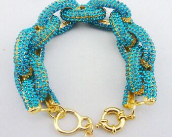 Pave Link Bracelet in Ocean Blue