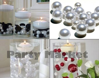 10mm 14mm 18mm 30mm Unique Jumbo & Assorted Sizes Plastic Faux Bead Pearls Ball Vase Fillers Table Scatter for Wedding Home Party Decoration