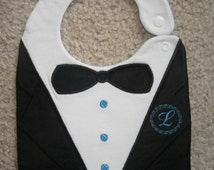 ITH Tuxedo Applique Bib Embroidery Design for large hoops (200*260mm, 200*300mm, 200*360mm and 180*300mm or larger) with  6 monogram frames
