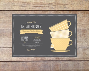 Bridal Shower Invitation - Grey and Yellow Teacups - Printable Digital Invitation