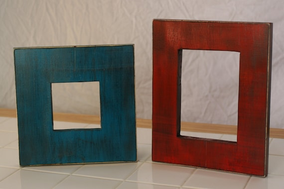 two 5x7 or 4x4 picture frames solid wood distressed by kmgstore. Black Bedroom Furniture Sets. Home Design Ideas