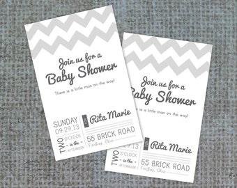 Simple Shower Invitation, Chevron Pattern Invite, Modern Invite