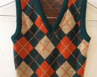 Vintage 1970's Childs's Plaid V-Neck Sweater Vest- size 5/6
