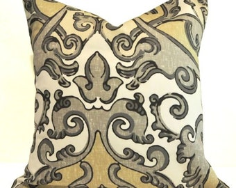 Decorative Pillow Cover, Accent Pillow, Throw Pillow, Pillowcase -18X18 Baroque Pattern Warm Grey, Natural and White