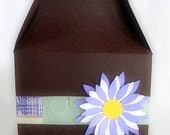 Flower Decorated Chocolate Brown Gable Box with Die-cut Flower - set of 6 - RollingIdeas