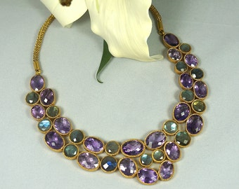 Faceted Amethyst & Moonstone Statement Necklace