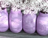Lilac Weddings / Distressed Mason Jars / Painted Glass Jar Wedding Decoration / Lavender Wedding Centerpiece for Shabby Chic Weddings