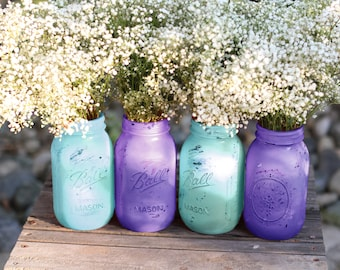 Mason Jars in Turquoise & Blue Violet / Wedding Decoration / Wedding Decor / Wedding Centerpiece