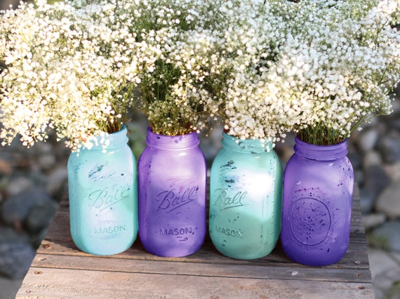 Mason jars in turquoise blue violet wedding decoration