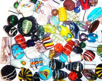 African Trade Beads Mix 200 Grams Lampwork Glass Beads Handmade different colour n shapes mix