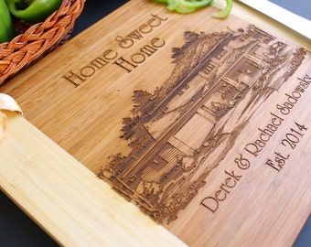 House Picture Cutting Board, Personalized Cutting board, Custom Engraved House  - 11 x 14 Bamboo Wood