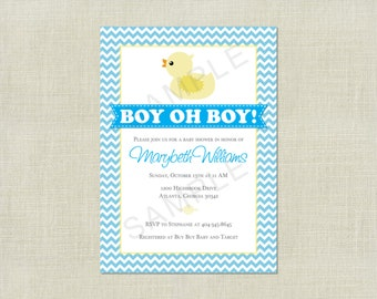 Rubber Duck Baby Shower Invitation Boy Oh Boy / Blue Pink Yellow / Yellow Ducky / Chevron / Cute