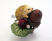 Cute, fashionable unique handmade hedgehog ring, jewlery for animal, pet, forest lover