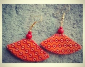 Orange small unique african tribal print boat shaped earrings