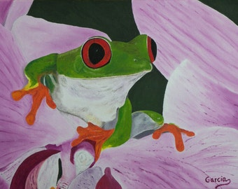 "Frog Painting, Frogs, Red Eyed Tree Frog, Original Oil Painting - ""Miguel, Not Just Another Frog"" (12"" x 16"" One of a Series)"