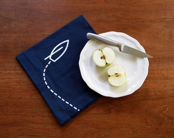 Navy and White Race Day Nautical Napkins - Set of 4