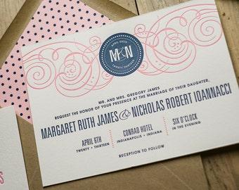 Pink & Navy Wedding Invitation, Pink Wedding Invite, Navy Invitation, Monogram - Sample Set