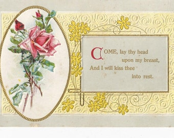 1910'S Beautiful Vintage  Embossed Postcard  Come lay Thy Head