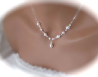 Freshwater pearl necklace wedding jewelry pearl bridal jewelry