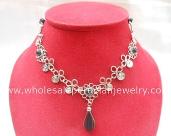 Black Onyx Teardrop Alpaca Silver Flowers Inca Necklace Peruvian Jewelry Art - Handmade in Peru