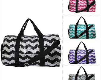 FREE MONOGRAM Sequin Chevron Print Travel Duffle Bag