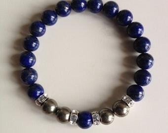 Brain Tonic ~ Genuine Lapis Lazuli & Pyrite Bracelet w/ Swarovski Crystal Spacers