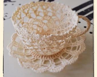 Vintage Teacup and Saucer Crochet Lace