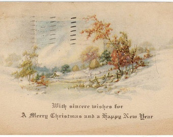 Vintage Christmas New Years Postcard Pastoral Scene in Snow