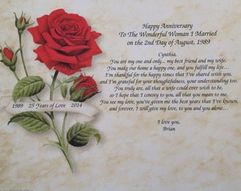 35th Wedding Anniversary Gift For Wife : ANNIVERSARY GIFT for WIFE Personalized Poem with Red Rose for 1st 2nd ...