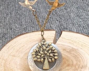 Antique Brass Tree Bird Locket Necklace Victorian Jewelry Gift Vintage Style