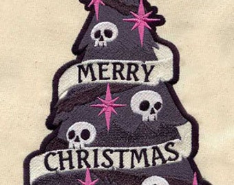 PAIR of Christmas / holiday skull Tree EMBROIDERED 15 x 25 inch Kitchen / bath room hand Towels