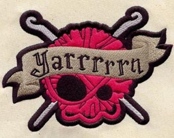 Embroidered Patch / applique - Crocheter's Yarn Skull - sew or glue on 6x4""