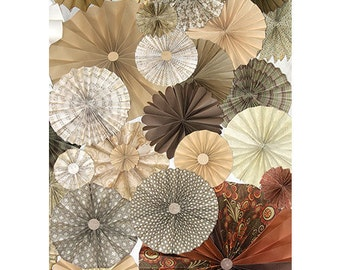 40pc tan ivory white pinwheels Paper Fans Wedding, Pinwheel Backdrop Decor Paper Rosettes, Candy Buffet Decorations, photo booth, shower