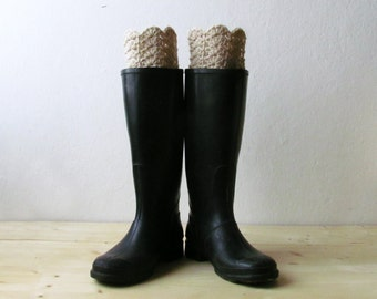 Beige Boot cuff / Rustic boot socks / Rustic clothing / Crochet leg warmers / CHOOSE YOUR COLOR