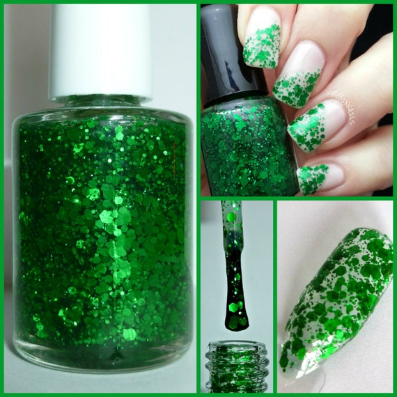 May Emerald ~ Birthstone ~ Nail Polish 5-Free Hand Blended Dense Glitter