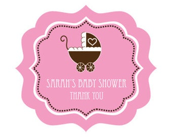 Personalized Baby Shower Labels Pink and Brown Baby Shower Favors Sticker Ideas for Girl Baby Shower Pink Baby Shower (EB3020BP) - 24 labels
