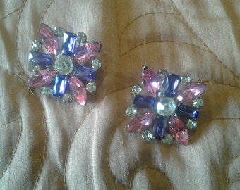 Pink, purple and rhinestone vintage earrings.