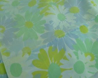 2 Vintage Retro Mod Blue Flower Pillowcases Fabric