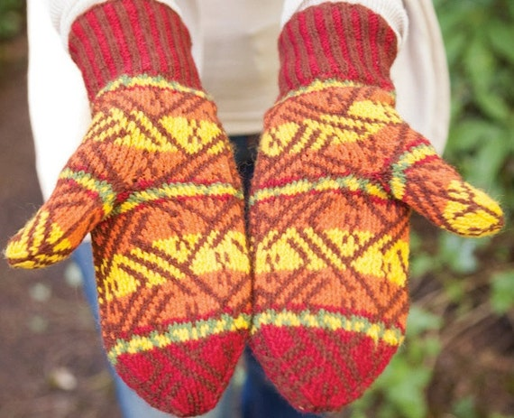 Inca Knitting Patterns : Inca Cat Hat and Mittens Digital Knitting Pattern PDF- fair isle stranded col...