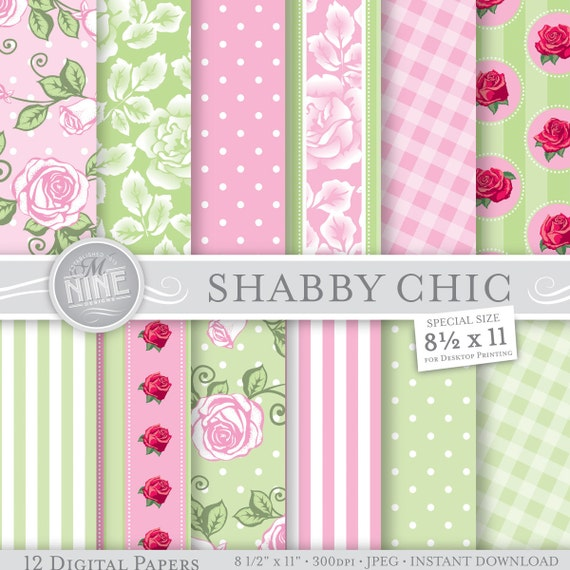 Pink green shabby chic digital paper pattern by mninedesigns - Papier peint shabby chic ...