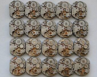 """1/2 x 5/8"""" .Set of 20  Vintage Soviet Watch movements , steampunk parts , cuff links supplies"""