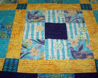 Quilt, AWESOME! Birds and butterlies hand made patchwork quilt bird quilt turquoise quilt yellow quilt nine patch quilt lap quilt