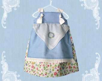 Boutique Girls Apron Knot Dress, Tea Party Dress, Prairie Girl Dress, Birthday or Spring,sizes 3 to 12 months