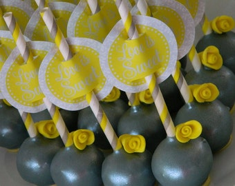 12 Grey and Yellow Wedding  Reception Birthday Party Favor Cake Pops Gray Bridal Shower