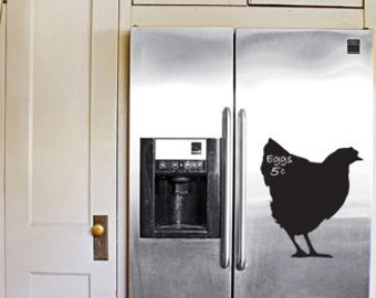 Country Chicken Chalkboard Refrigerator Decal 13x11 - Hen - Eggs