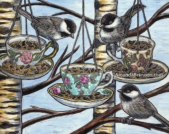 Chickadee Tea — Canvas Print of Original Clay Board Engraving (Bird Nature Wildlife Art)
