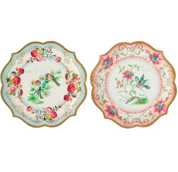 Vintage Tea Party Paper Serving Plates, Party Paper Plates, Paper Party Plates, Tea Party Supplies