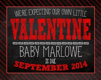 Valentine's Day Chalkboard Pregnancy Announcement Photo Prop | Size: 11x14 | *Digital File* | by MMasonDesigns