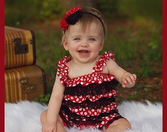 Minnie mouse romper - 1st birthday minnie outfit - red polka dot romper