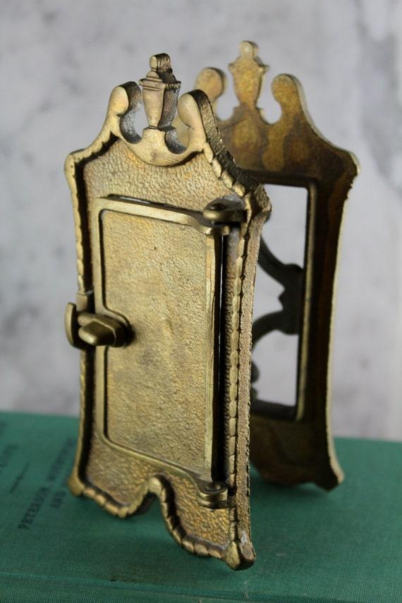 Antique brass speakeasy door knocker peephole - Antique peephole ...